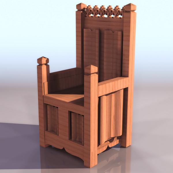 Medieval throne chair 3d rendering