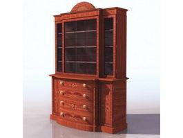 Antique satinwood bookcase 3d preview