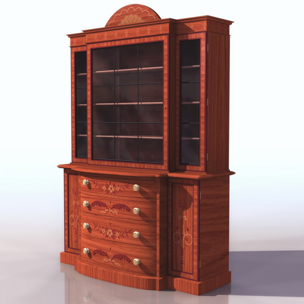 Antique satinwood bookcase 3d rendering