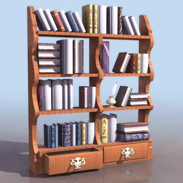 Chippendale book shelf 3d rendering