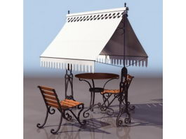Ornamental garden furniture set 3d preview