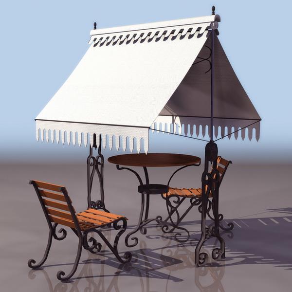 Ornamental garden furniture set 3d rendering