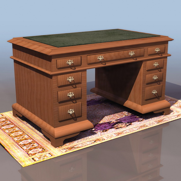 Ancient England writing desk 3d rendering
