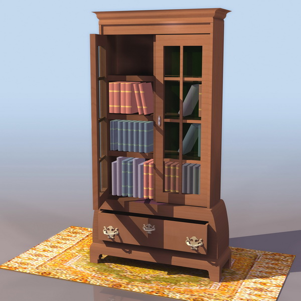 Thomas Chippendale style bookcase 3d rendering