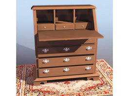Chippendale style secretaire 3d preview
