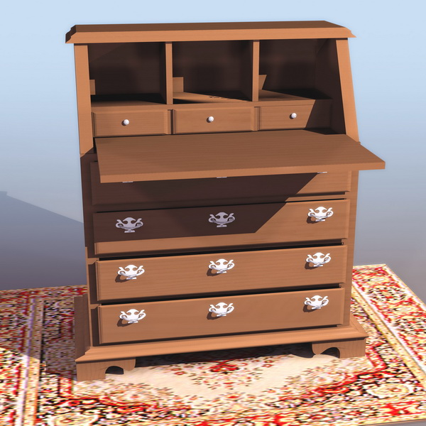 Chippendale style secretaire 3d rendering