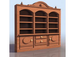 Ancient bookshelf with cabinet 3d preview
