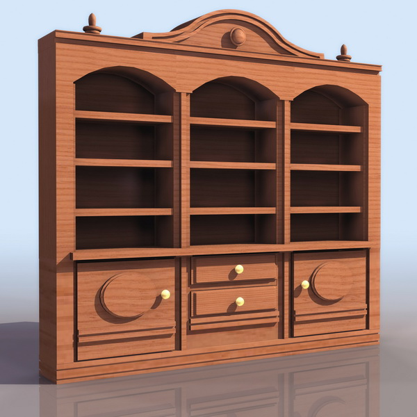 Ancient bookshelf with cabinet 3d rendering