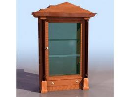 Biedermeier style display cabinet 3d preview