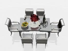 Modern dining table and chairs 3d preview