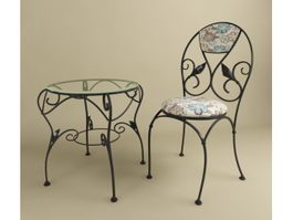 Wrought iron table and chair 3d preview