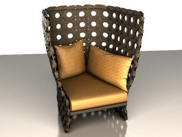 High-backed upholstered chair 3d preview