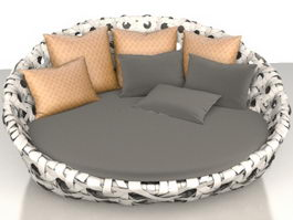 Modern rattan floor sofa 3d preview