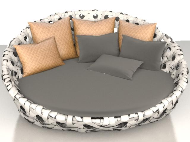 Modern rattan floor sofa 3d rendering
