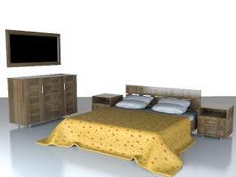 Bedroom furniture set 3d preview