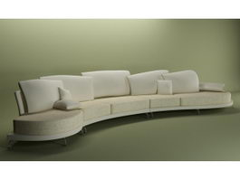 Arc-shaped sectional sofa 3d preview