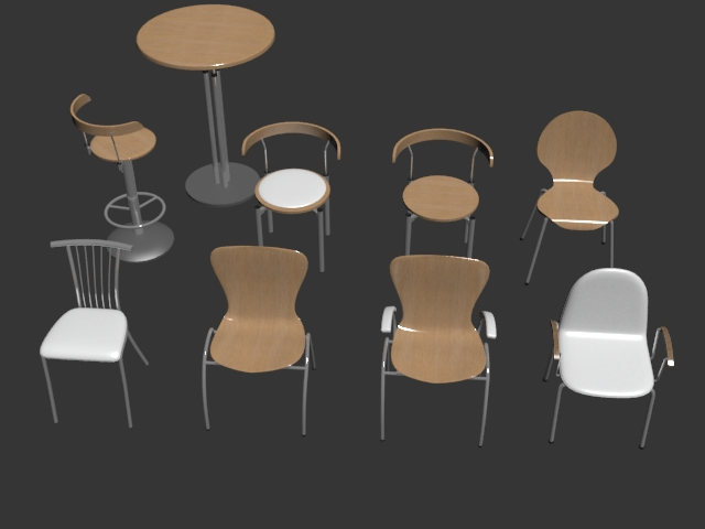 Minimalist restaurant bar chair set 3d rendering
