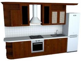 Modern residential kitchen 3d model preview