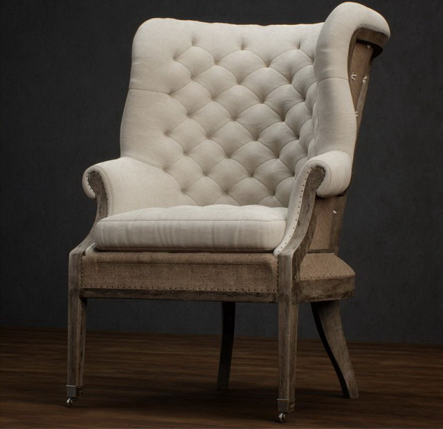 Fully Upholstered Wing-back Chair 3d Model 3dsmax Files