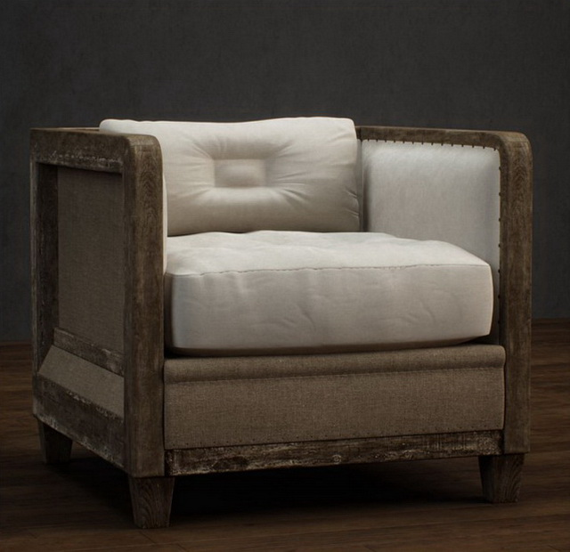 Classic single fabric wood sofa 3d model 3dsmax files free ...