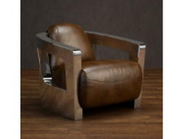 Classic luxurious leather chair 3d model preview