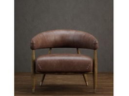 Wood base leather tub chair 3d preview