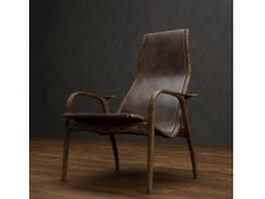 Classic leather reclining chair 3d preview