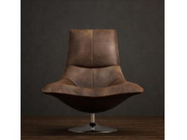 Metal base leather tulip chair 3d preview