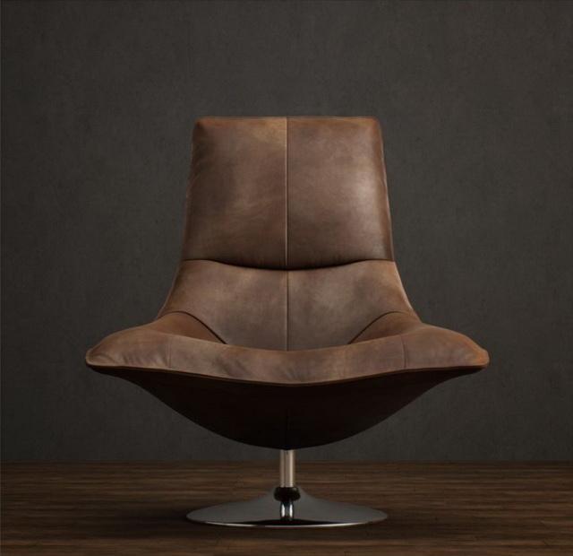 Metal base leather tulip chair 3d rendering