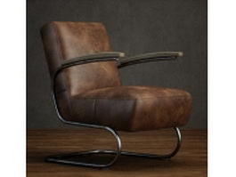 Cantilever leather armchair 3d preview