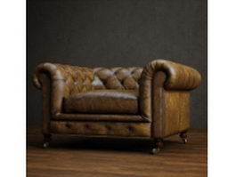 Classic leather chesterfield sofa 3d preview