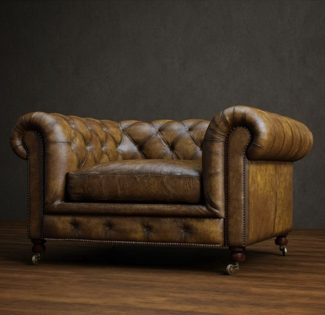 Classic leather chesterfield sofa 3d rendering