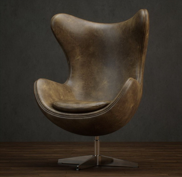Classic style of leather egg chair 3d rendering