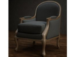 Upholstered fabric wingback chair 3d preview
