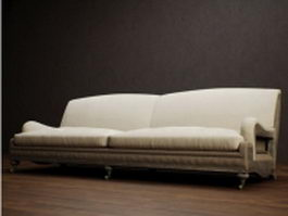 Classic fabric settee couch 3d model preview