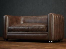 Two-seater leather loveseat 3d preview