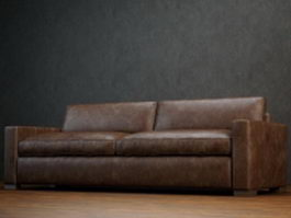 2 seater leather loveseat 3d preview