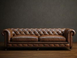 Two seater leather chesterfield sofa 3d preview