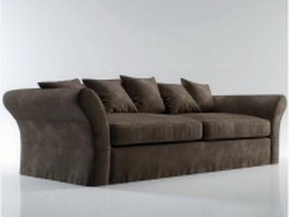 Upholstered loveseat and pillow 3d preview