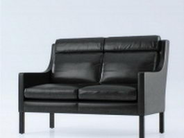 Leather settee loveseat 3d preview