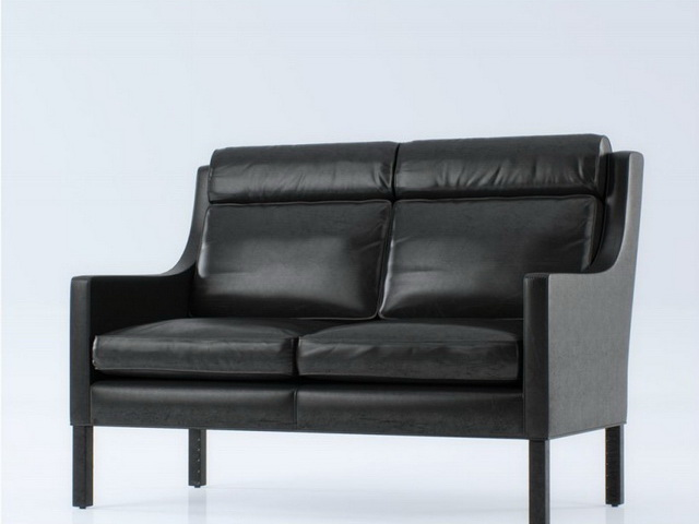 Leather settee loveseat 3d rendering