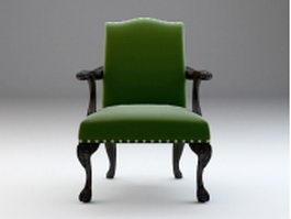 Antique upholstered armchair 3d model preview