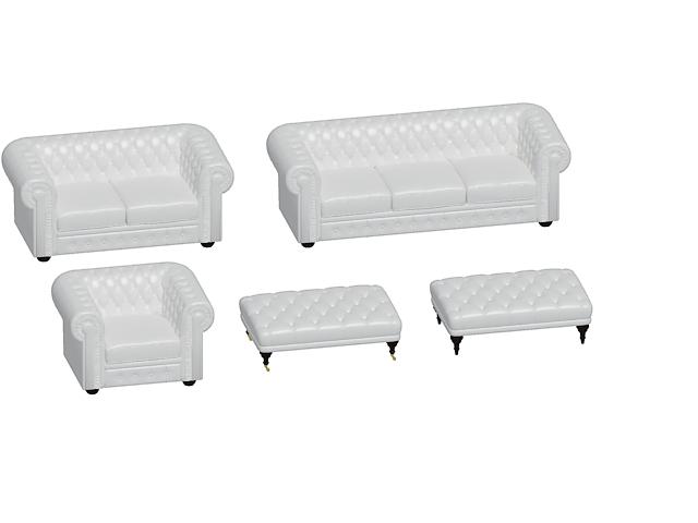 Chesterfield sofa set 3d rendering