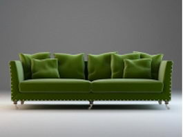 Classic upholstered fabric couch set 3d preview
