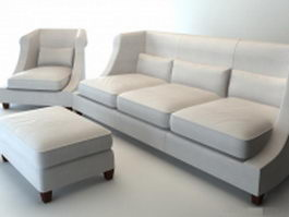 Classic fabric sofa set 3d preview