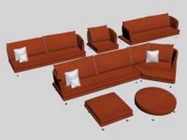 Orange modern fabric sofa set 3d model preview