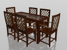 Classic wood dining set 3d model preview