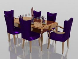 Luxurious dining set 3d preview