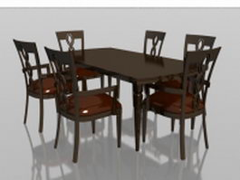 6 seater wood dining set 3d model preview
