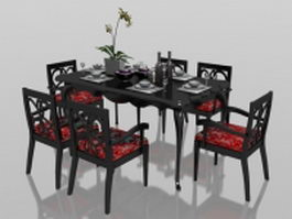 Classic 6 seater dining set with tableware 3d model preview